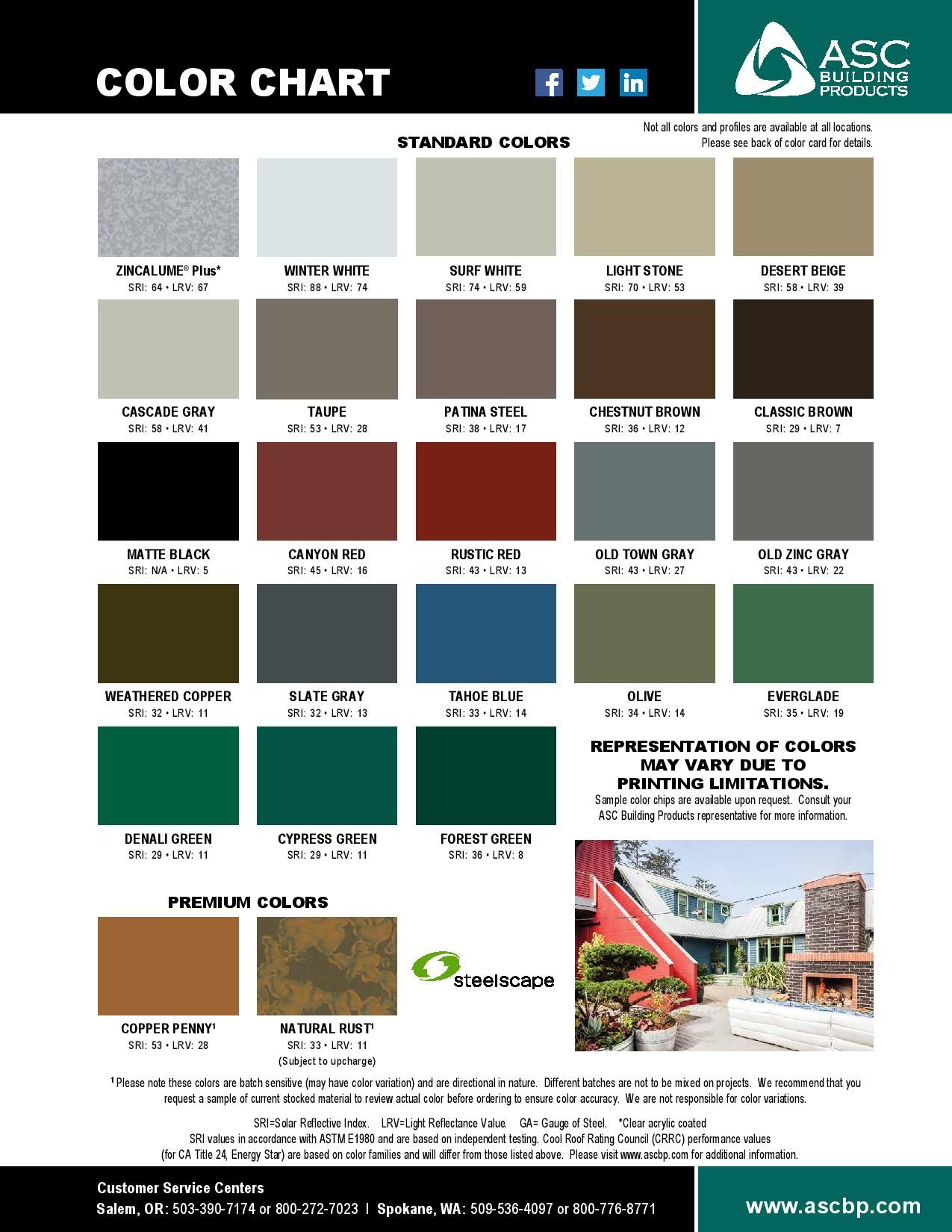 ASC's color chip card for their metal roofing colors.