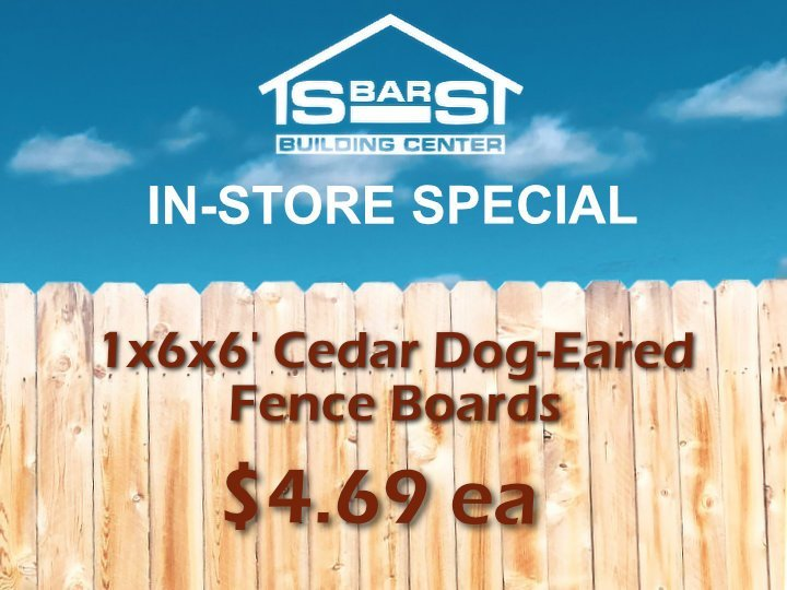 Cedar dog-eared privacy fence boards for sale at S-Bar-S.