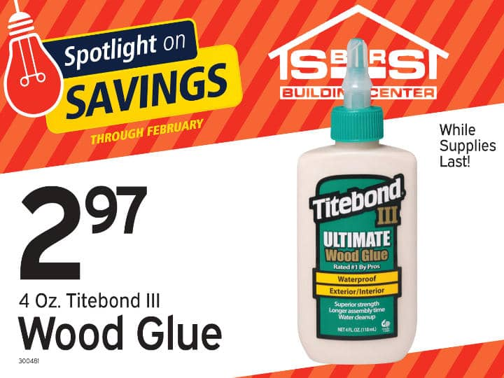Titebond waterproof wood glue on sale at S-Bar-S.