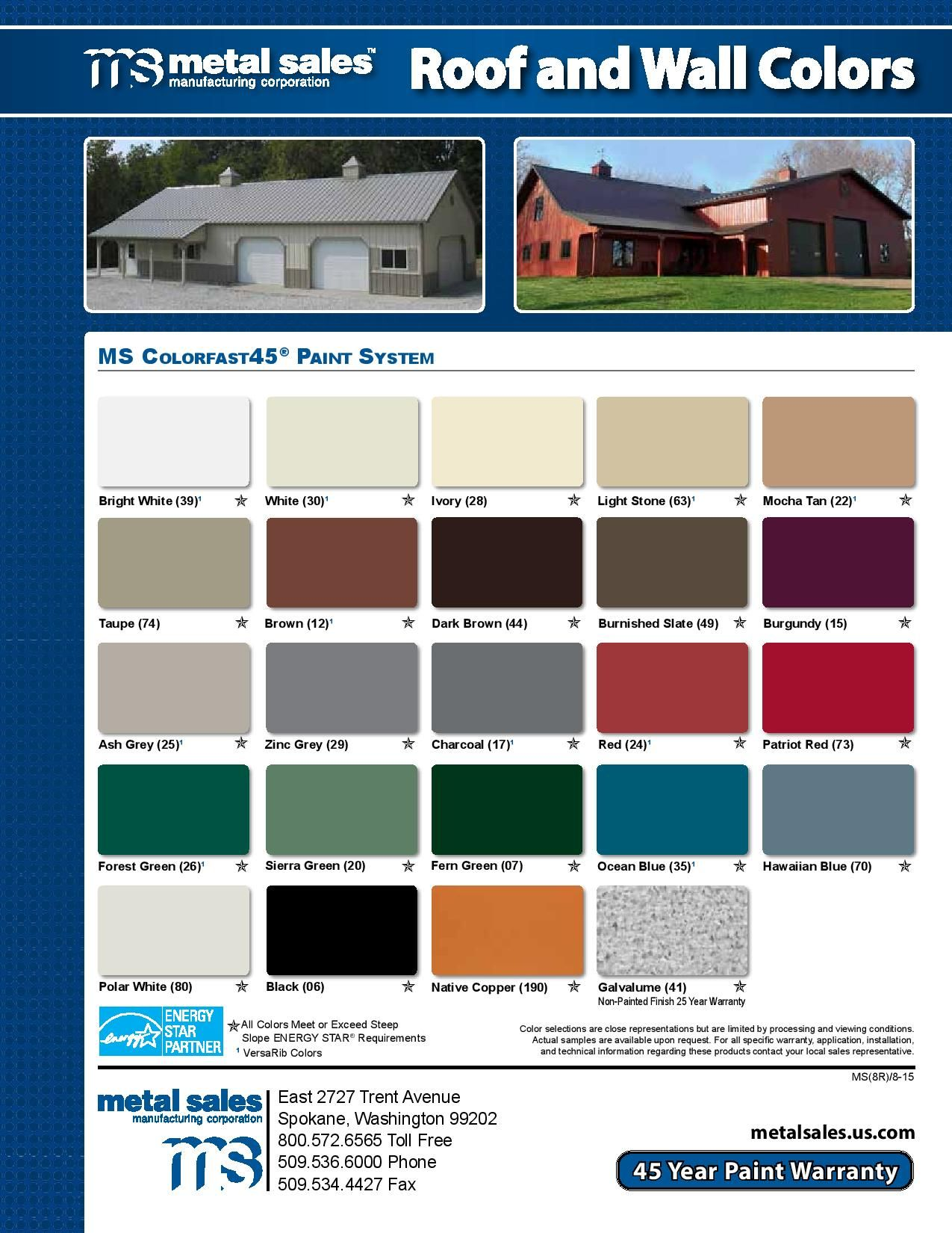 Metals Sales color chips for their metal roofing.