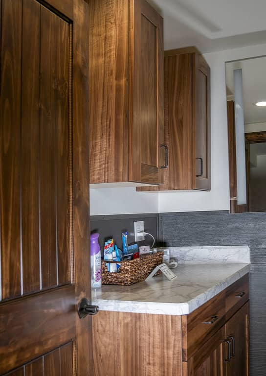 Custom vanities and cupboards in the women's bath at the Rusty Roost.