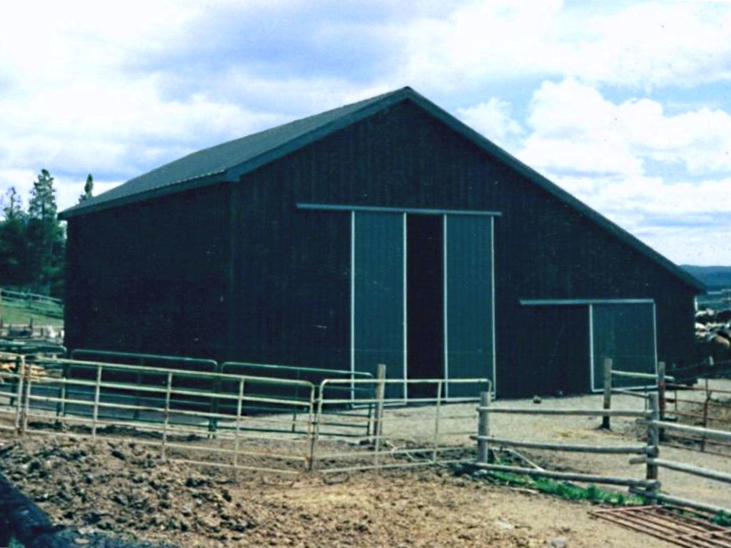 Gable pole barn with two sliding barn doors at the end.