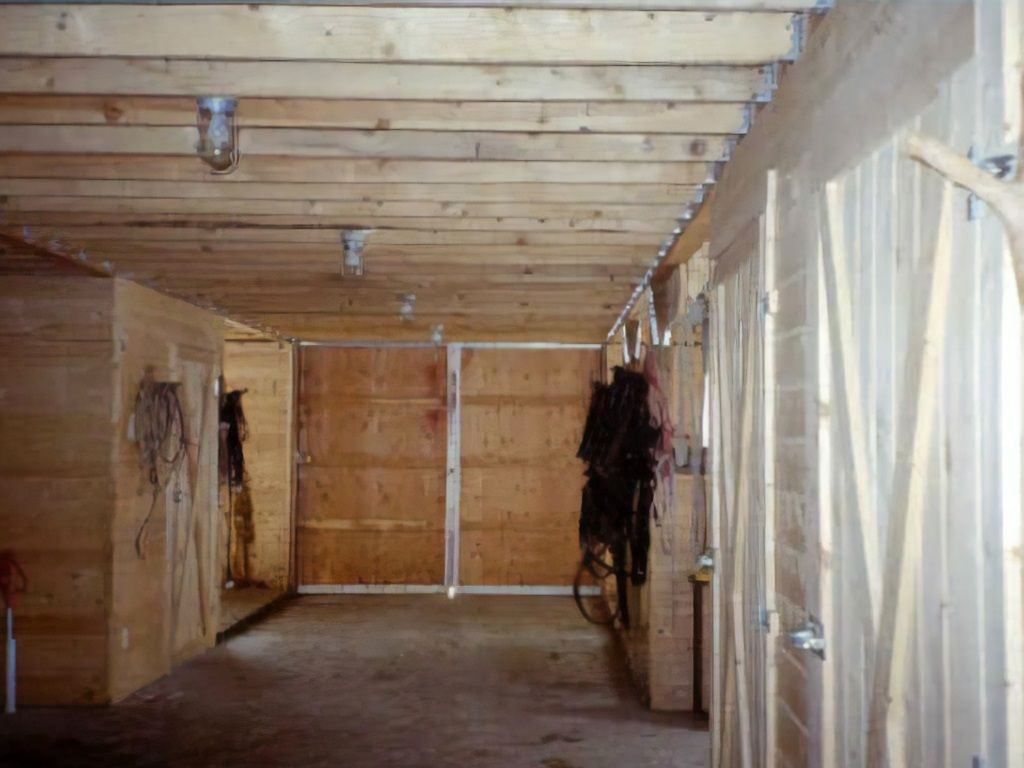 Interior view of gambrel pole barn built by S-Bar-S