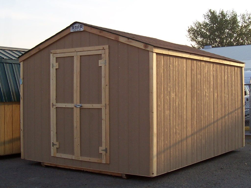 Budget friendly shed that has gable roof with no overhang and hardboard siding.