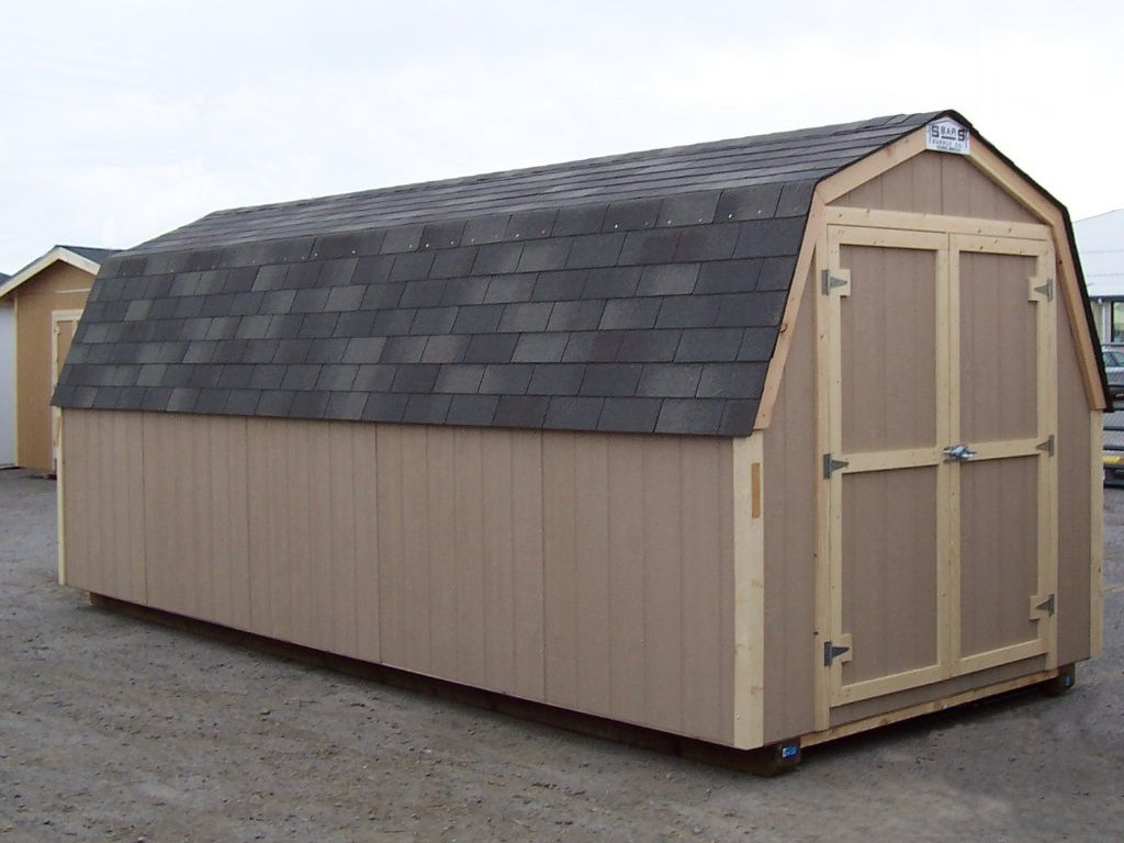 Side view of a barn-style shed with a gambrel having no overhang.
