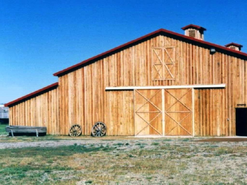 Left end of front of wooden barn.