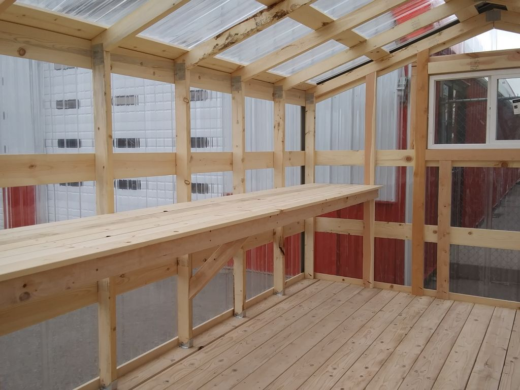 2x4's and 1x4's make up the frame of a greenhouse.