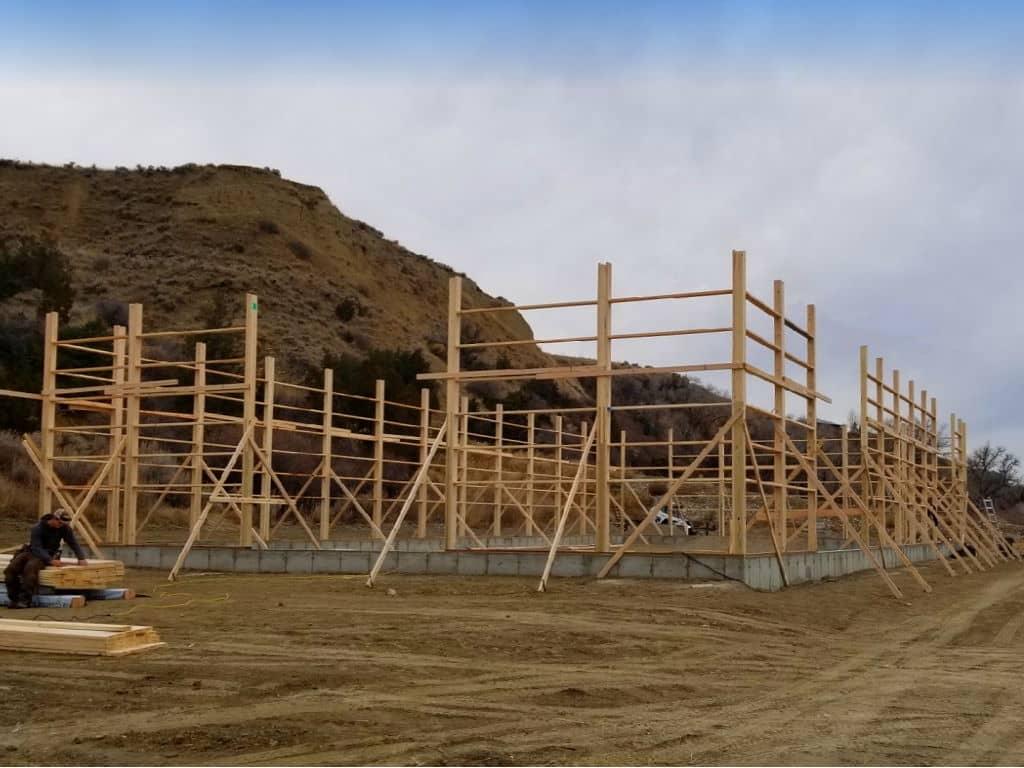Construction of a turned-girt pole barn.