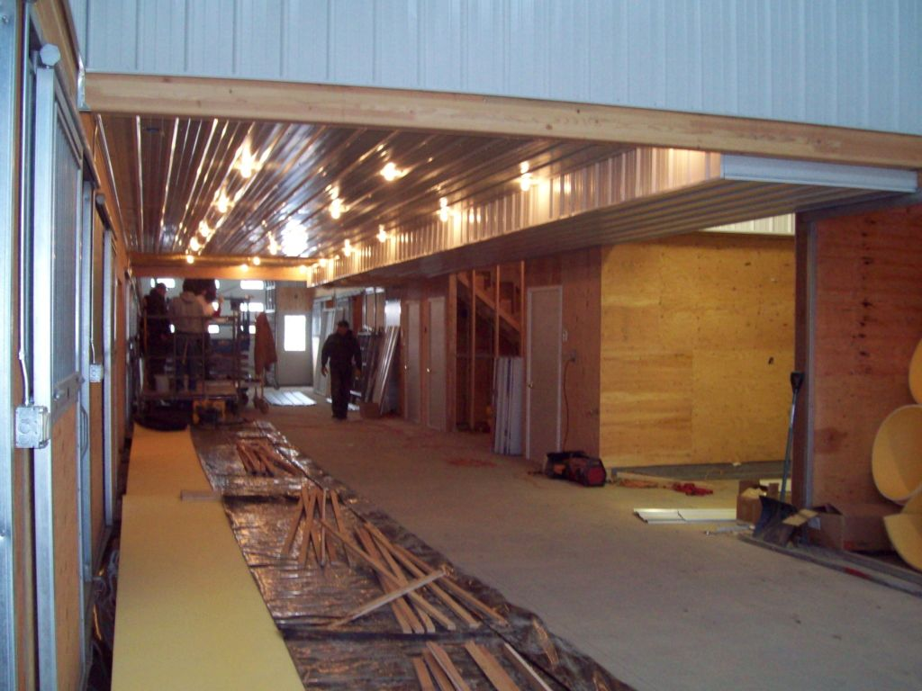 Interior of barn as it is under construction.