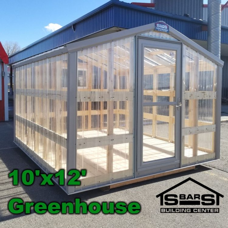 10'x12' greenhouse made with clear polycarbonate panels..