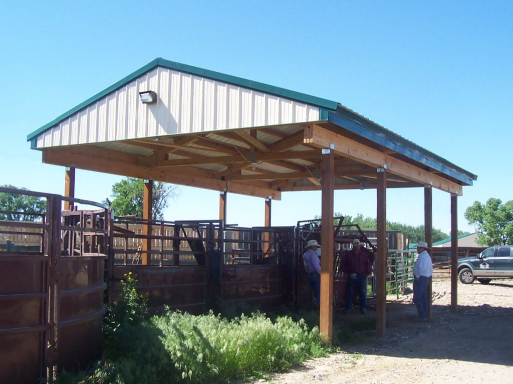 Open-sided pole barn with a green metal roof that covers a livestock chute. Three cowboys are conversing in the shade.