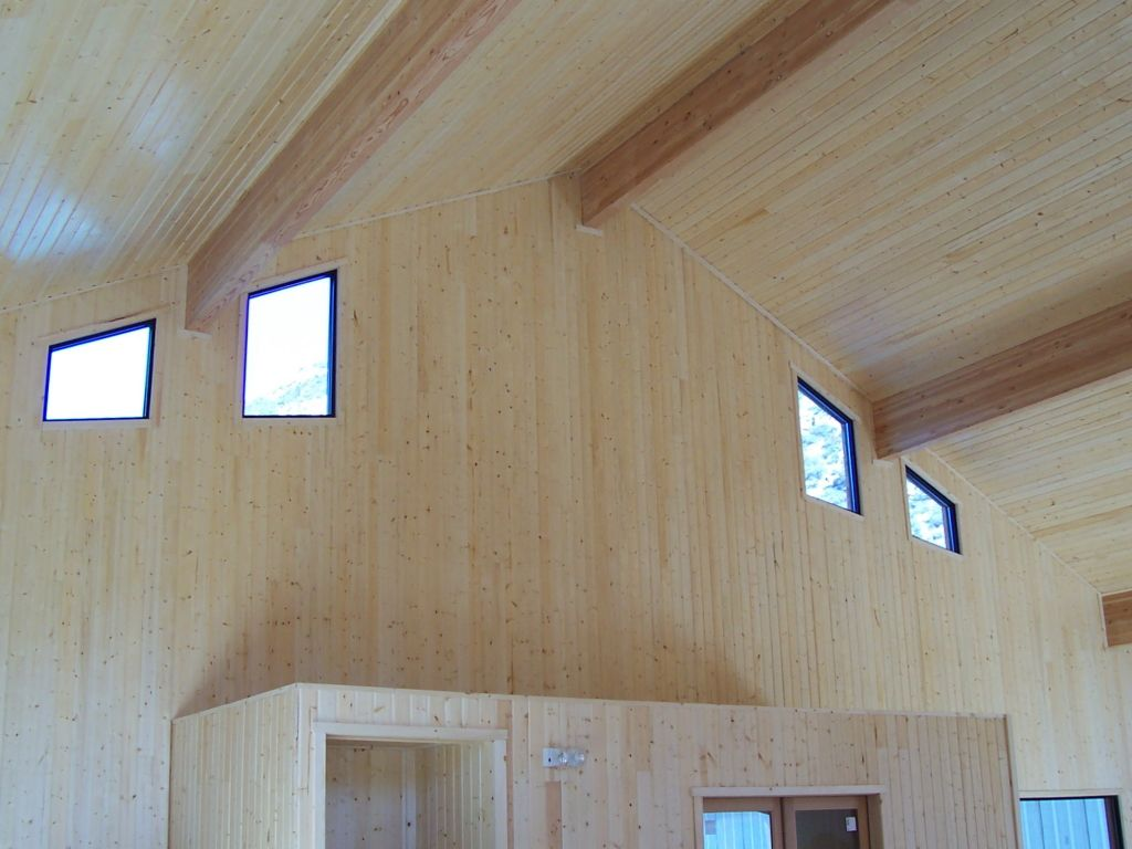 Picture windows lining a vaulted ceiling let in natural light to brighten a wood paneled great room.